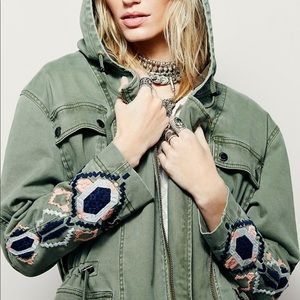 ✨FREE PEOPLE ✨Embroidered twill parka / NWOT